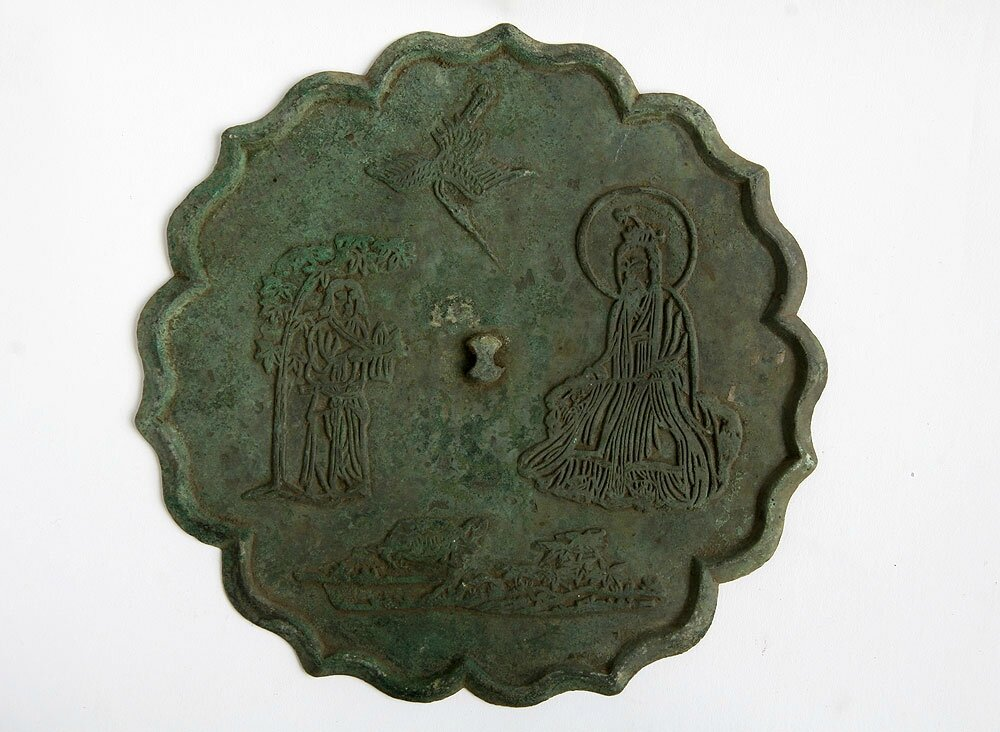 Bronze Mirror with Design of Immortal, Tortoise and Crane, Song Dynasty
