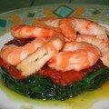 Crevettes sur lit d'épinards