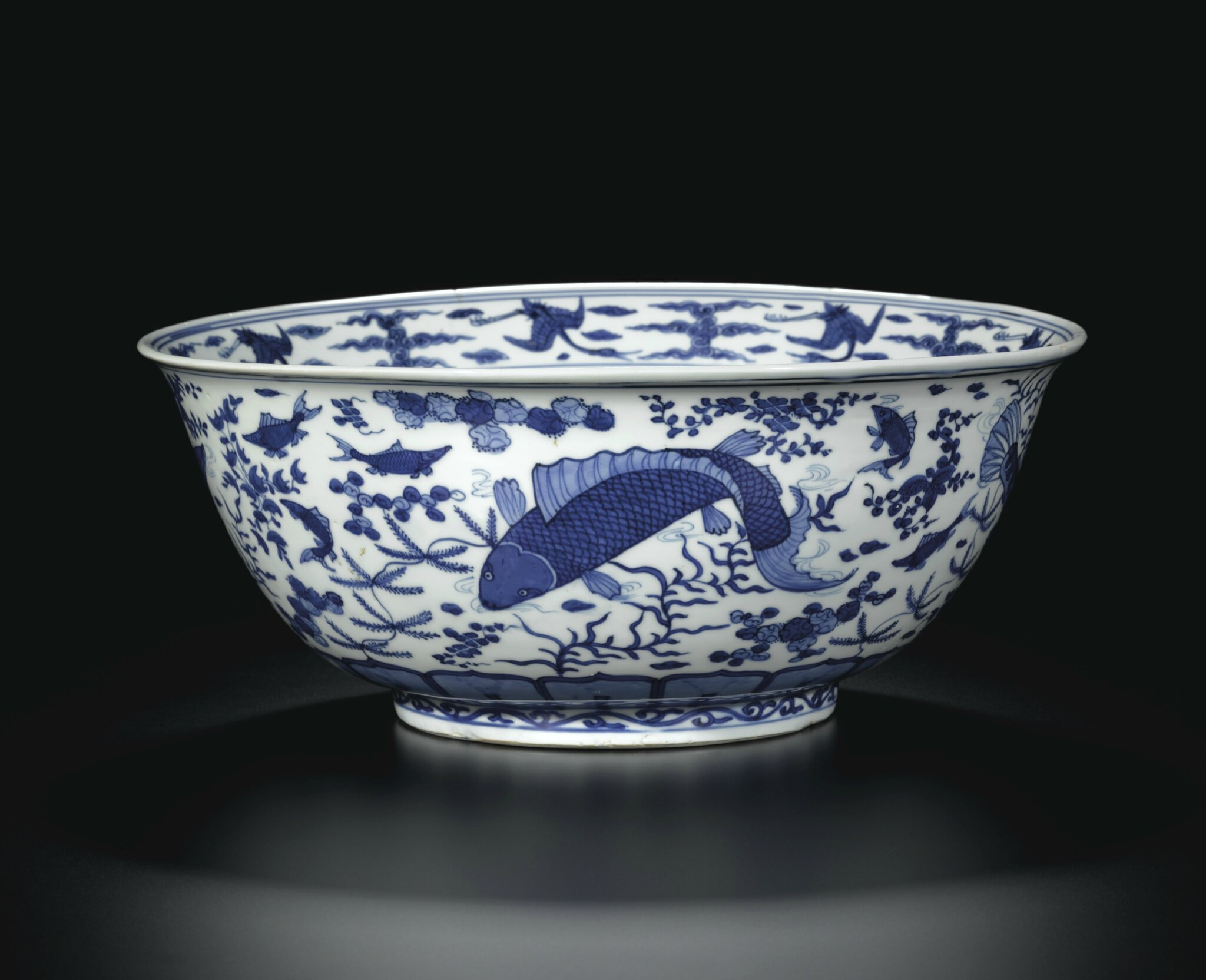 A large blue and white 'Fish' bowl