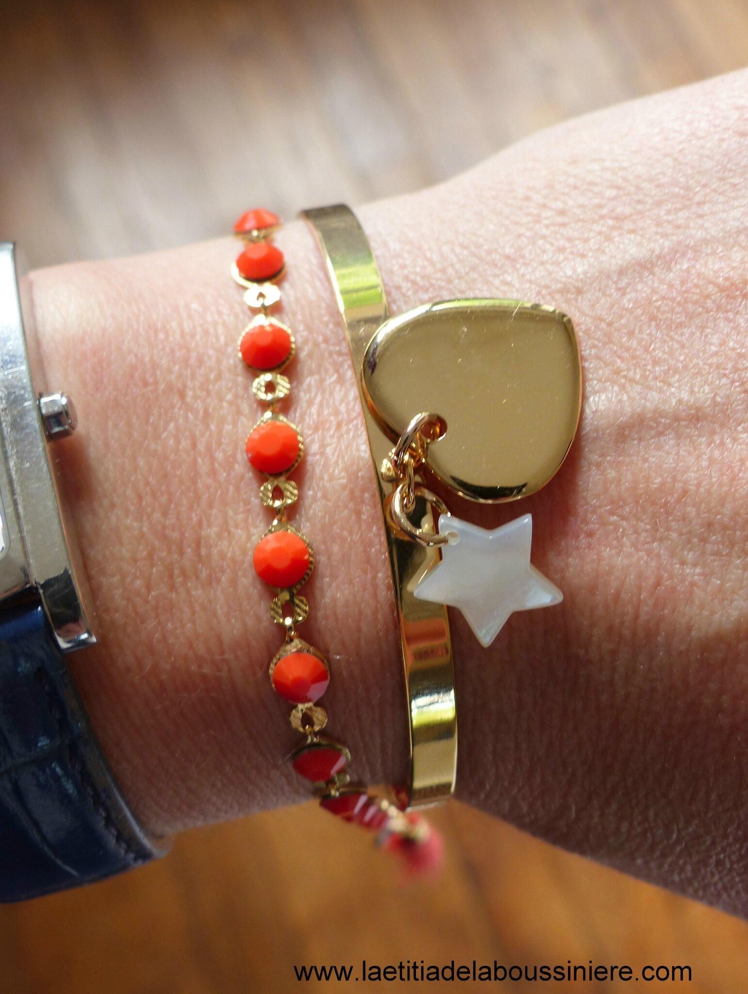 Demi jonc Love my children (coeur en plaqué or et étoile en nacre) avec le bracelet Kibrille corail - 66 € et 25 €