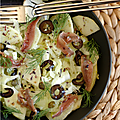 Salade fenouil, pomme, olives noires, anchois, câpres, aneth. quel mariage !