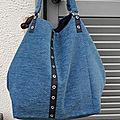 Grand sac cabas, velours bleu, doublé, sac shopping ou sac de piscine, sac de sport..