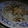 Riz et sa garniture de poulet sauce blanche