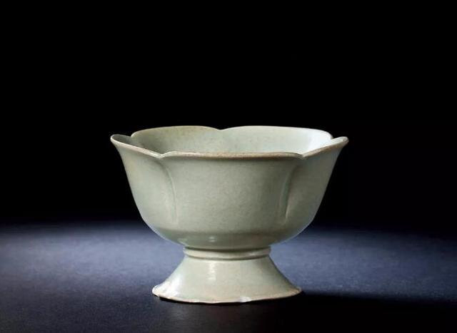 A Yue Lobed Stem Cup, Five Dynasties, 10th Century