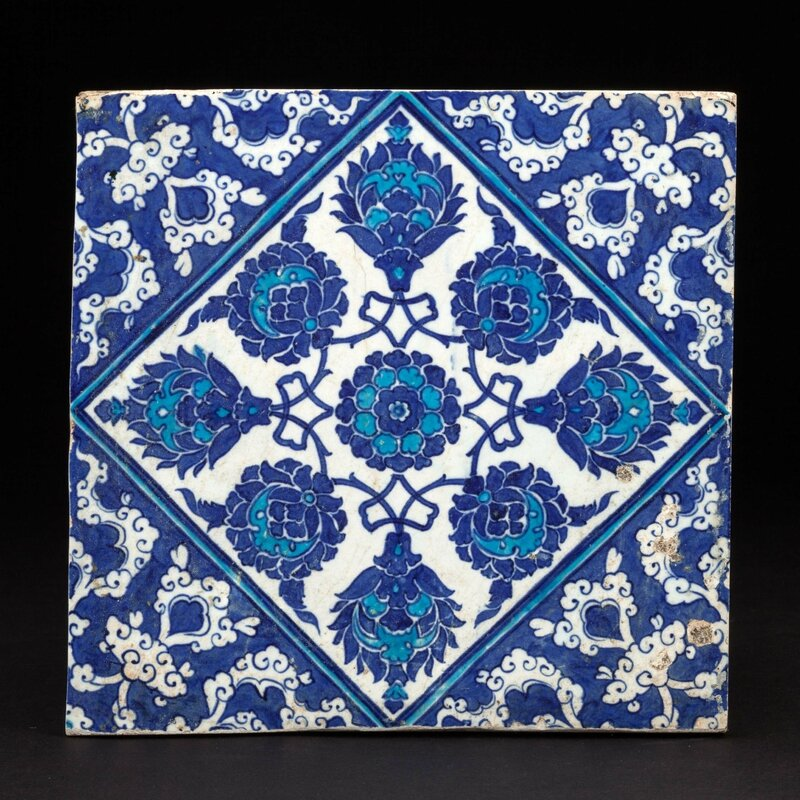 Blue and white Iznik tile, Turkey, First half of the 16th century