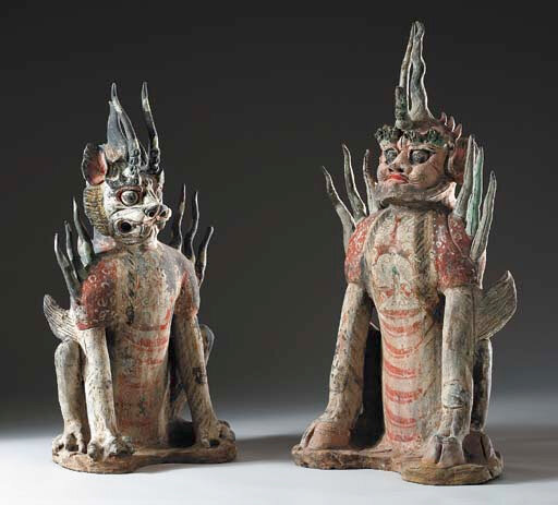 A Pair of Painted Grey Pottery Figures of Earth Spirits, Tang Dynasty (618-906)