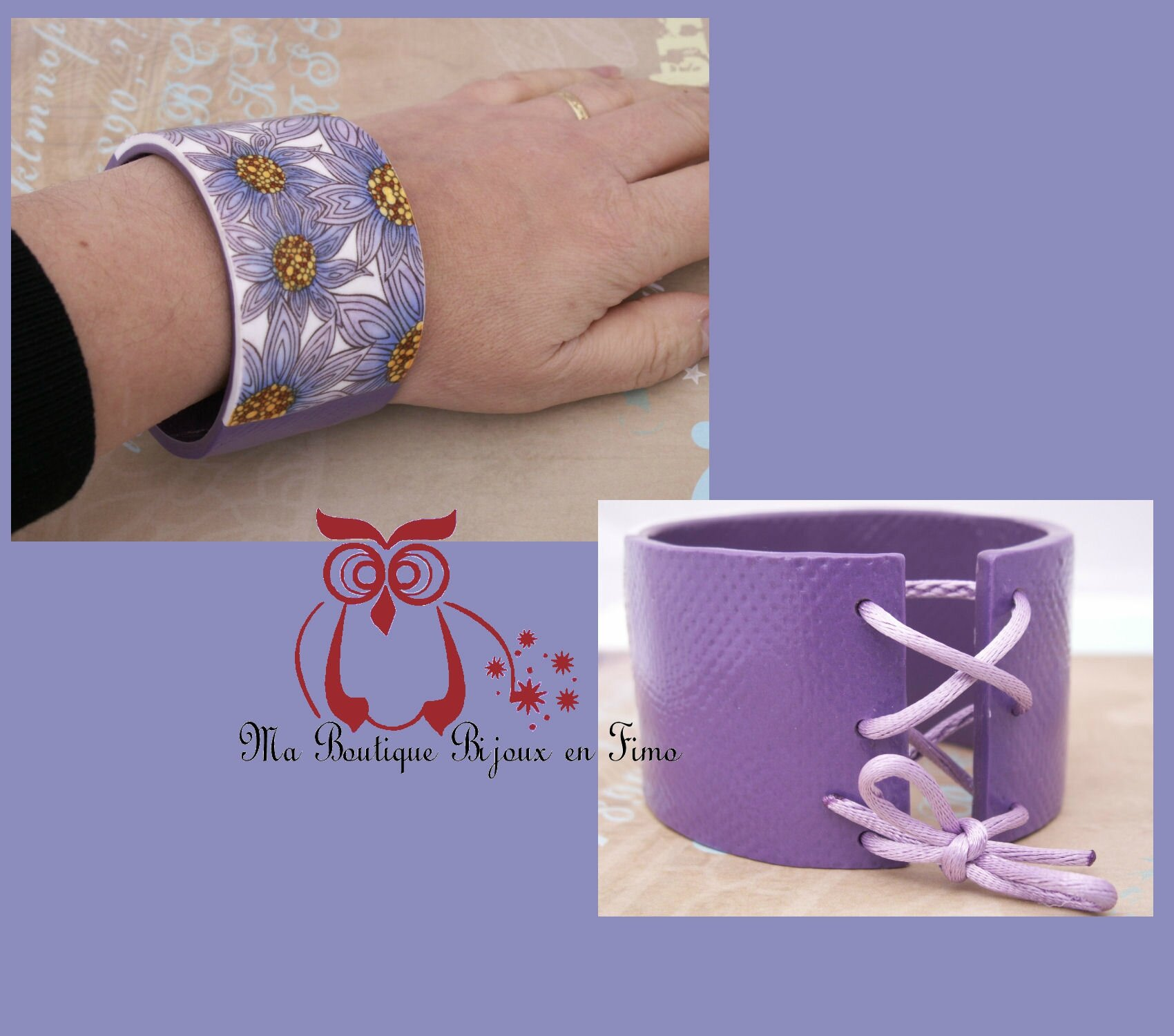 Bracelet Esclave Fleurs violette 1B BIS