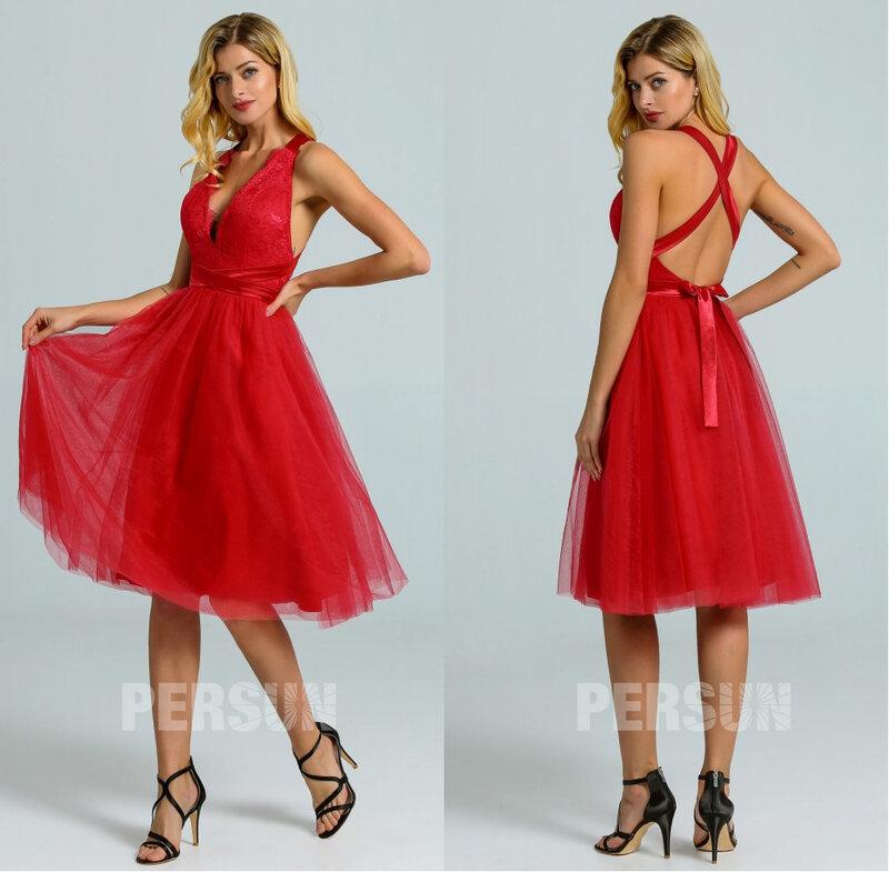 robe de bal courte rouge décolleté v festonné dos nu bretelles croisées