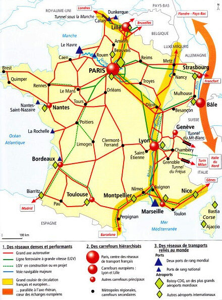 carte métropolisation transport grands axes