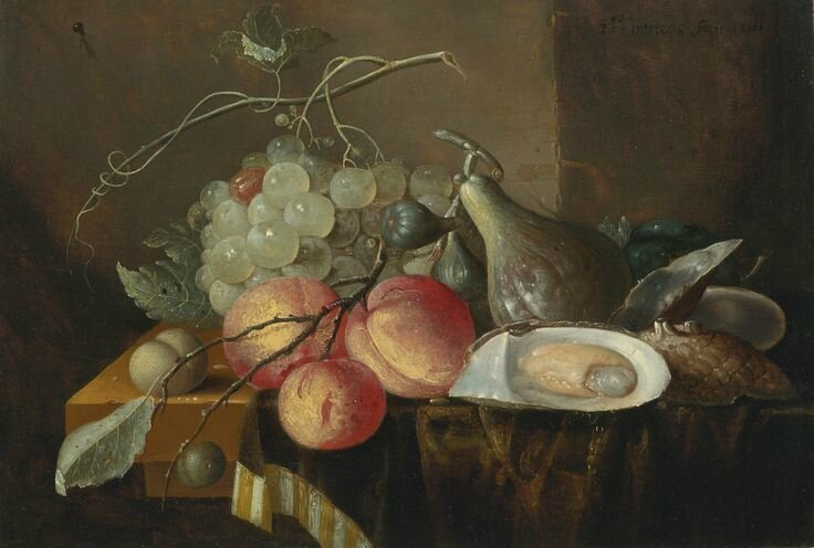 Thomas Mertens (Active in Antwerp circa 1666), Still life with fruit and oysters on a table