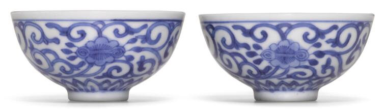 A pair of small blue and white cups, Yongzheng marks and period (1723-1735)