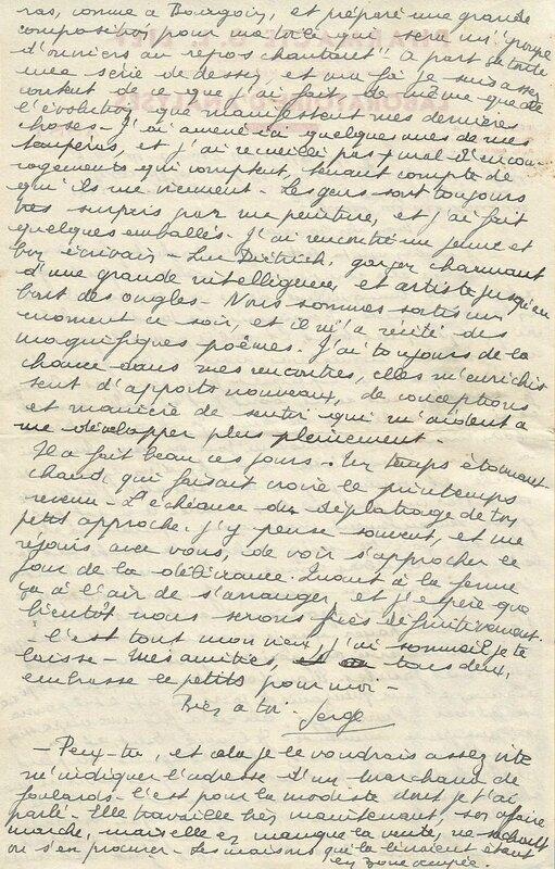 Lettre Serge Lief Dietrich Verso