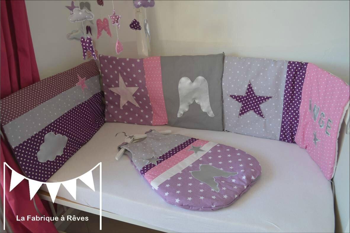 tour de lit violet bébé turbulette gigoteuse douillette tour de lit bébé naissance thème  tour de lit violet bébé