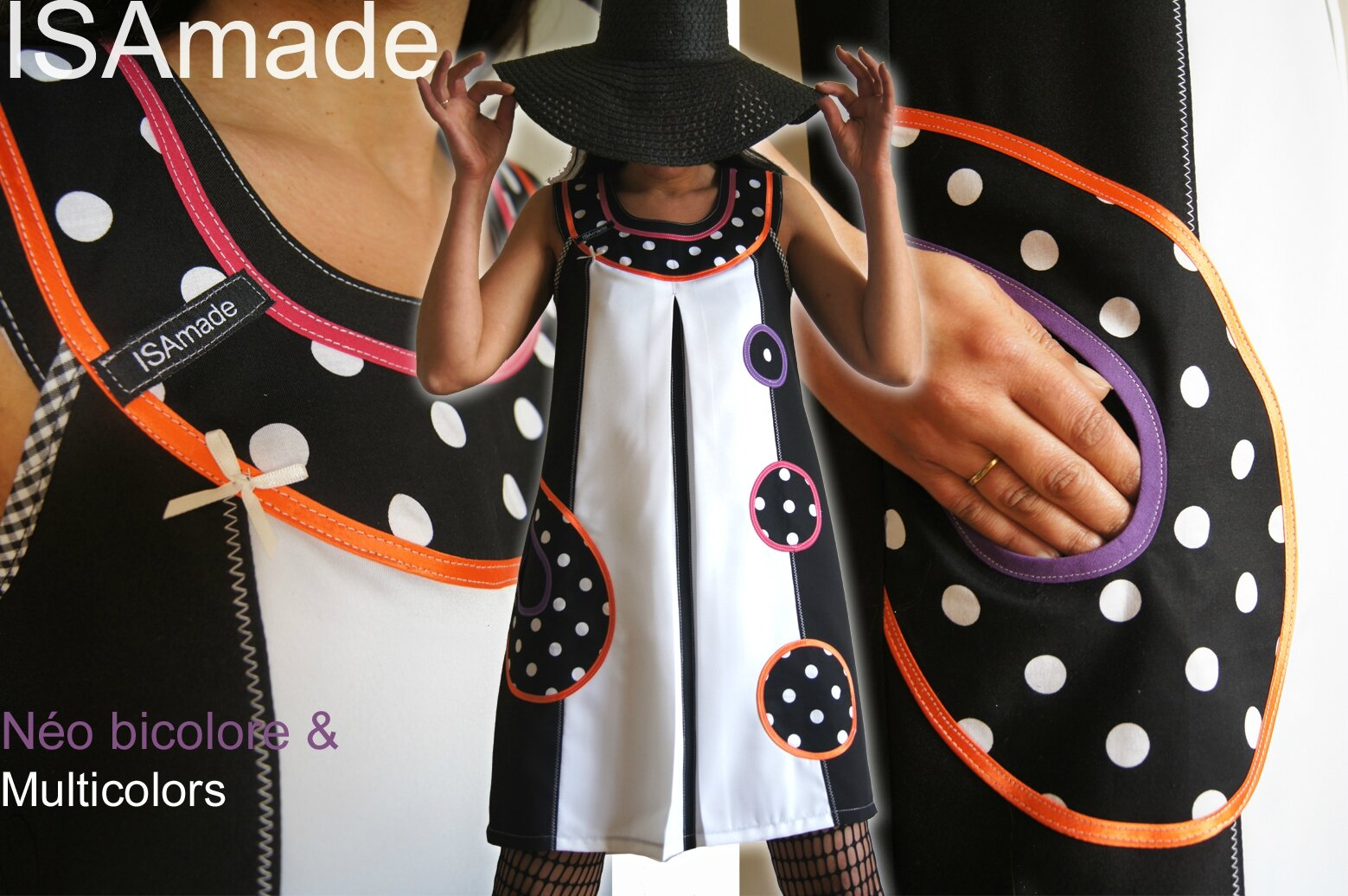 Robe Trapèze graphique Bicolore Noire/blanche à pois