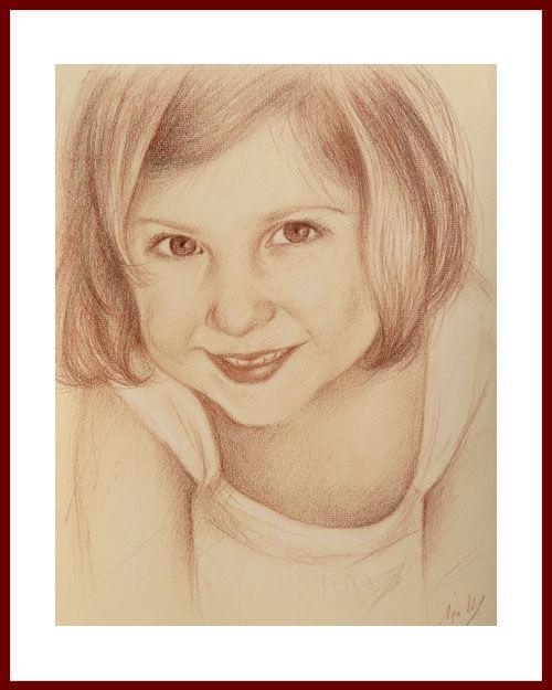 portrait sur papier crème 30 x 40 cm