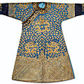 A rare imperial gold and silver-embroidered blue-ground twelve symbol 'dragon' robe, longpao, jiaqing period (1796-1820)