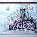 Peinture aquarelle costume carnaval Venise Tissu brocard velours peinture drapé Ghislaine Letourneur