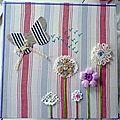 Tableau naïf : fleurs, papillon, boutons ...