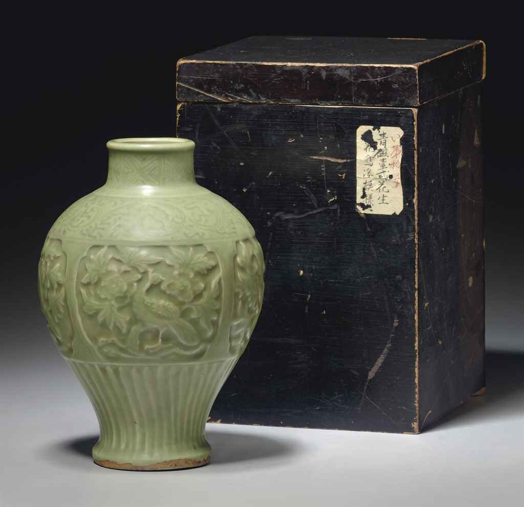 A rare Longquan celadon carved meiping, Yuan dynasty