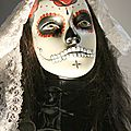 Extra wearing a traditional dress and make-up during the day of the dead « Spectre » 2015. Photo: Olivier Daaram Jollant © 2016