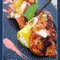 Tandoori de volaille, canelloni de riz à la vanille et condiment de fruits secs