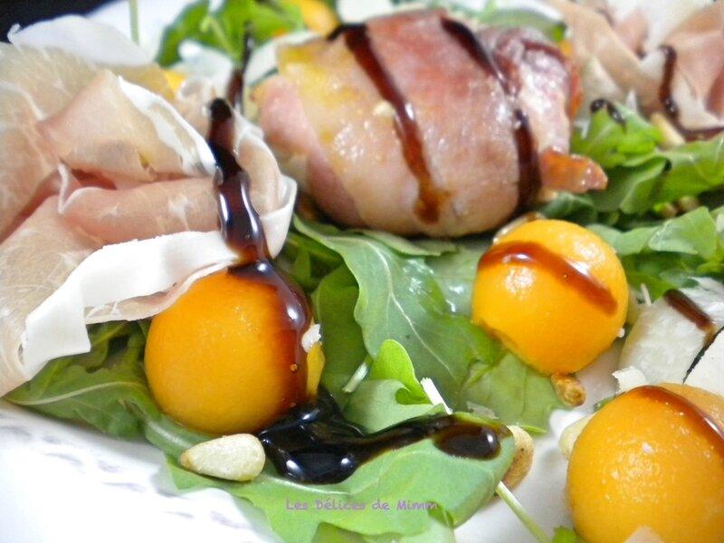 Salade de chèvre chaud au lard, melon et jambon de Parme 5