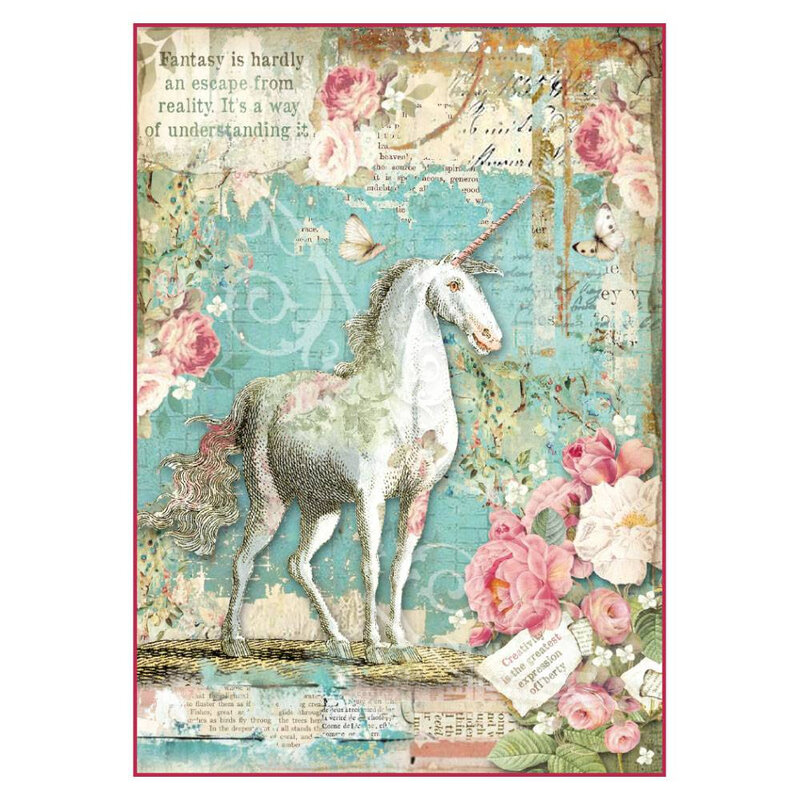 stamperia-rice-paper-a4-wonderland-unicorn-dfsa427