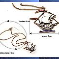 Pendentif Style Vintage Bateau Voiles Email Blanc et Rouge Métal Couleur Bronze Cuivré