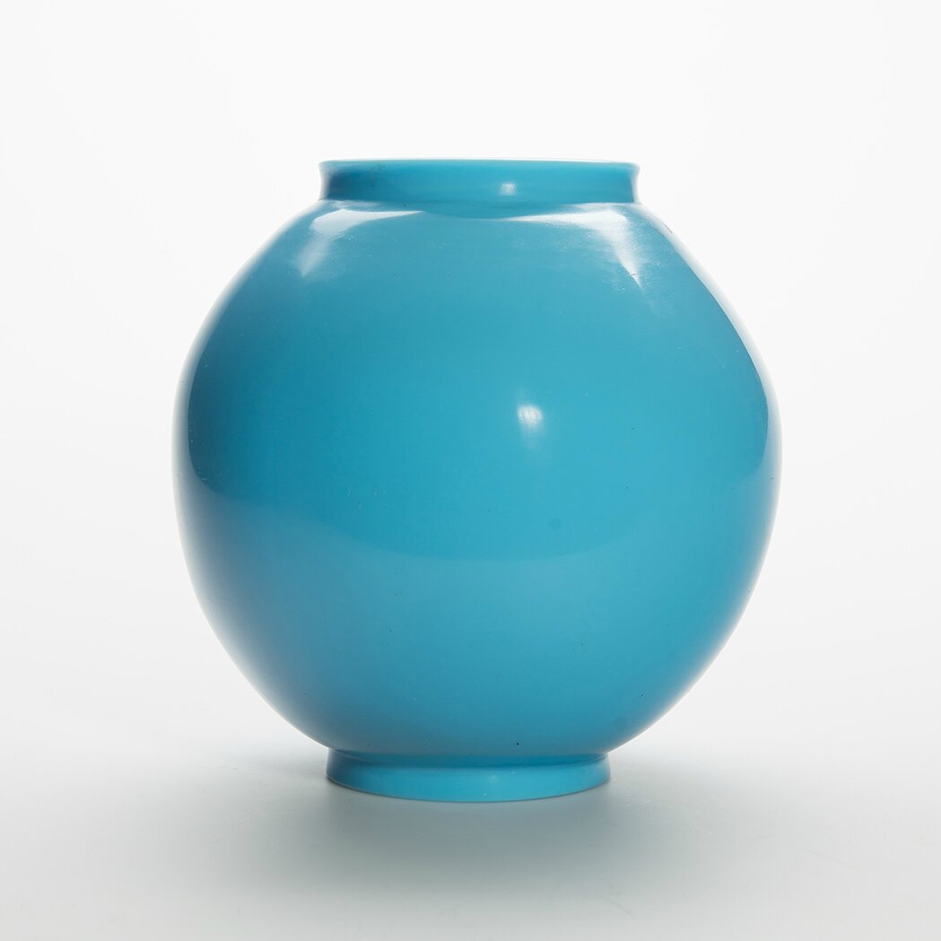Chinese Sky Blue Glass Vase, Qing Dynasty