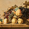 Claes van heussen, still life with grapes and pears in a basket,..., 1630