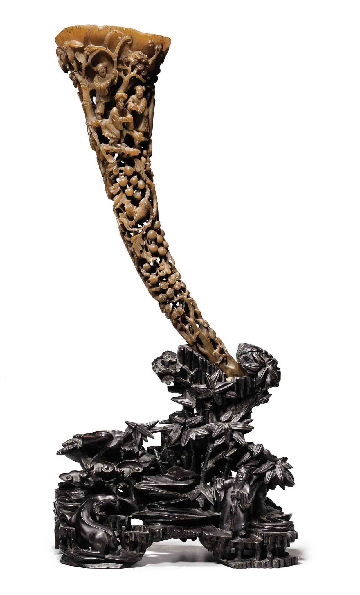 A large full-tip rhinoceros horn cup, 19th century