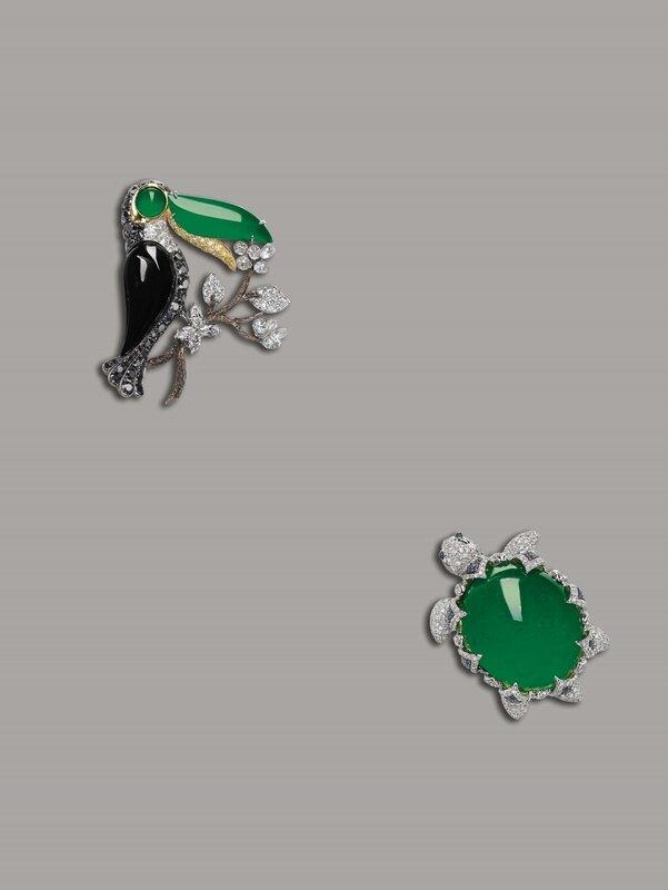 Jadeite and Diamond Clip Brooch