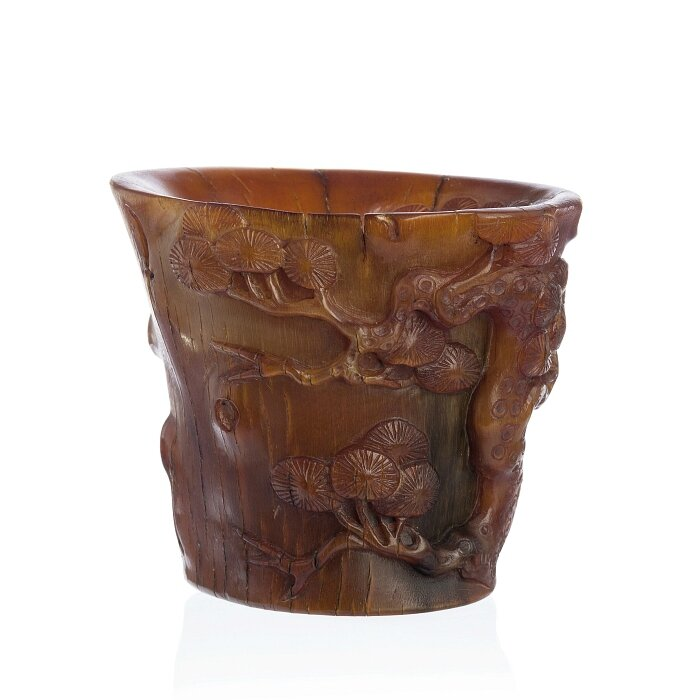 Rhinoceros horn libation cup, China, Minguo period