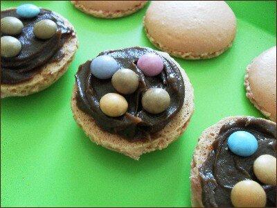 macarons ganache chocolat au lait - mini-smarties - préparation