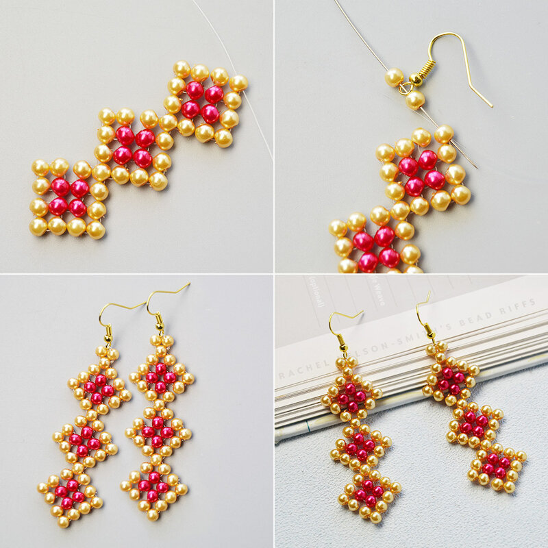 How-to-Design-a-Pair-of-Rhombus-Pearl-Beads-Pendant-Earrings-4