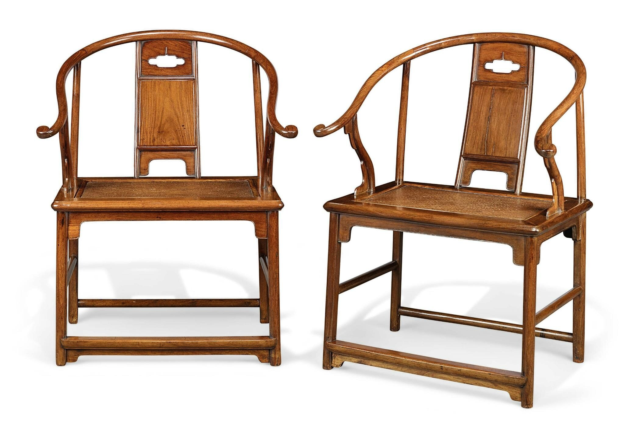 Merveilleux An Extremely Rare And Important Pair Of Huanghuali Horseshoe Back  Armchairs, Quanyi, Ming Dynasty, 17th Century