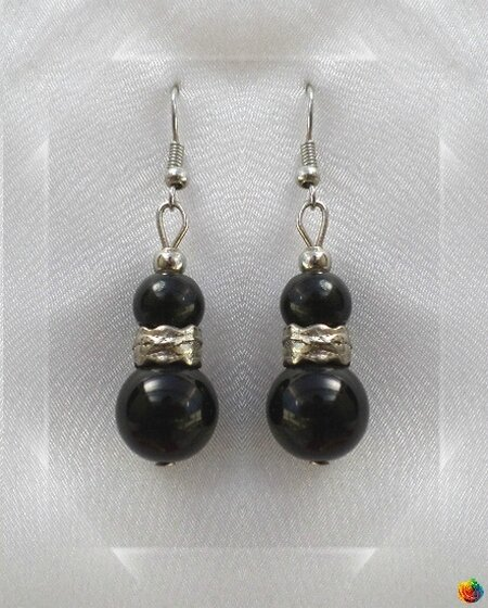Boucles d'Oreilles Huyana Style Tibétain Perles Onyx Noir 10 et 8 mm Argent Du Tibet