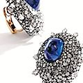 Pair of blackened silver, 18 karat gold, sapphire and diamond earclips, jar, paris