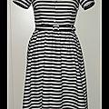 Commande d'isabelle: robe chemisier tissu rayé noir/blanc