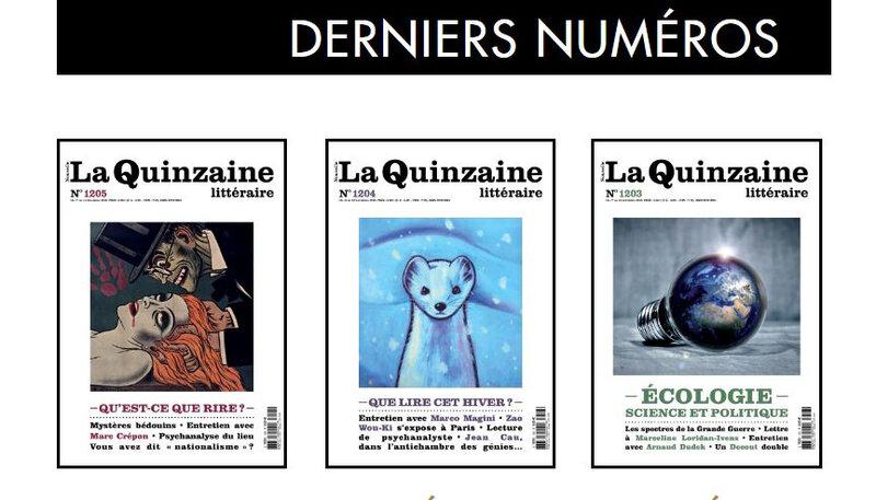 3 derniers numéros la Nouvelle Quinzaine Littéraire