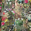 Veste VICTORINE en toile de coton imprimée montagne du tyrol - Doublure de satin noir (15)