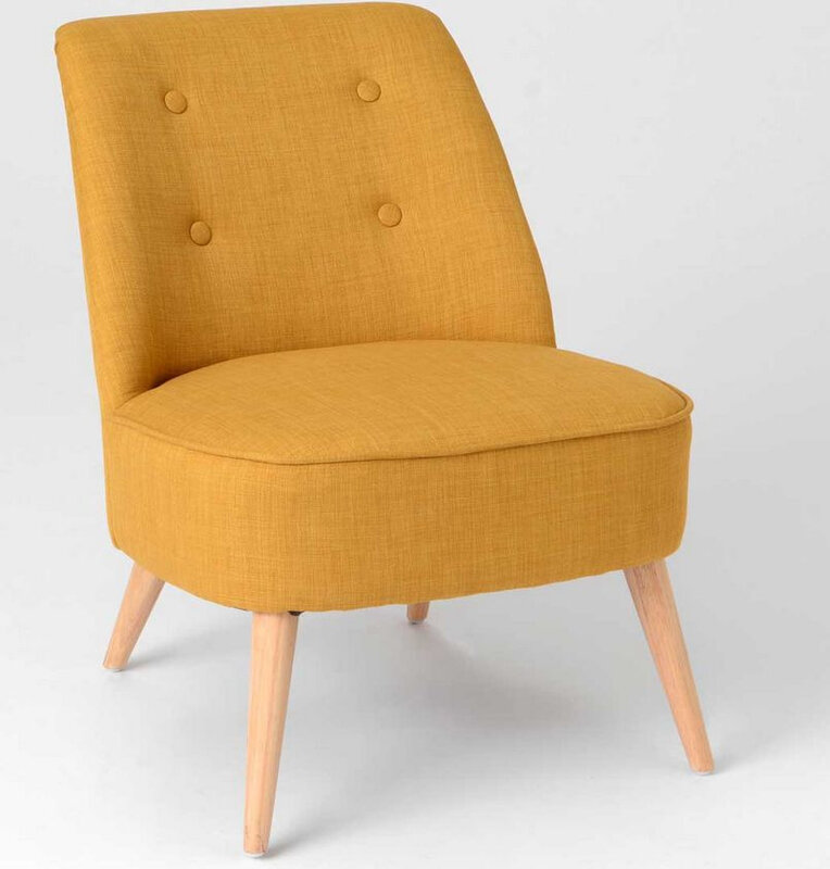 Fauteuil moutarde scandinave
