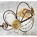 Serre tête fil aluminium ivoire marron chocolat fleur satin