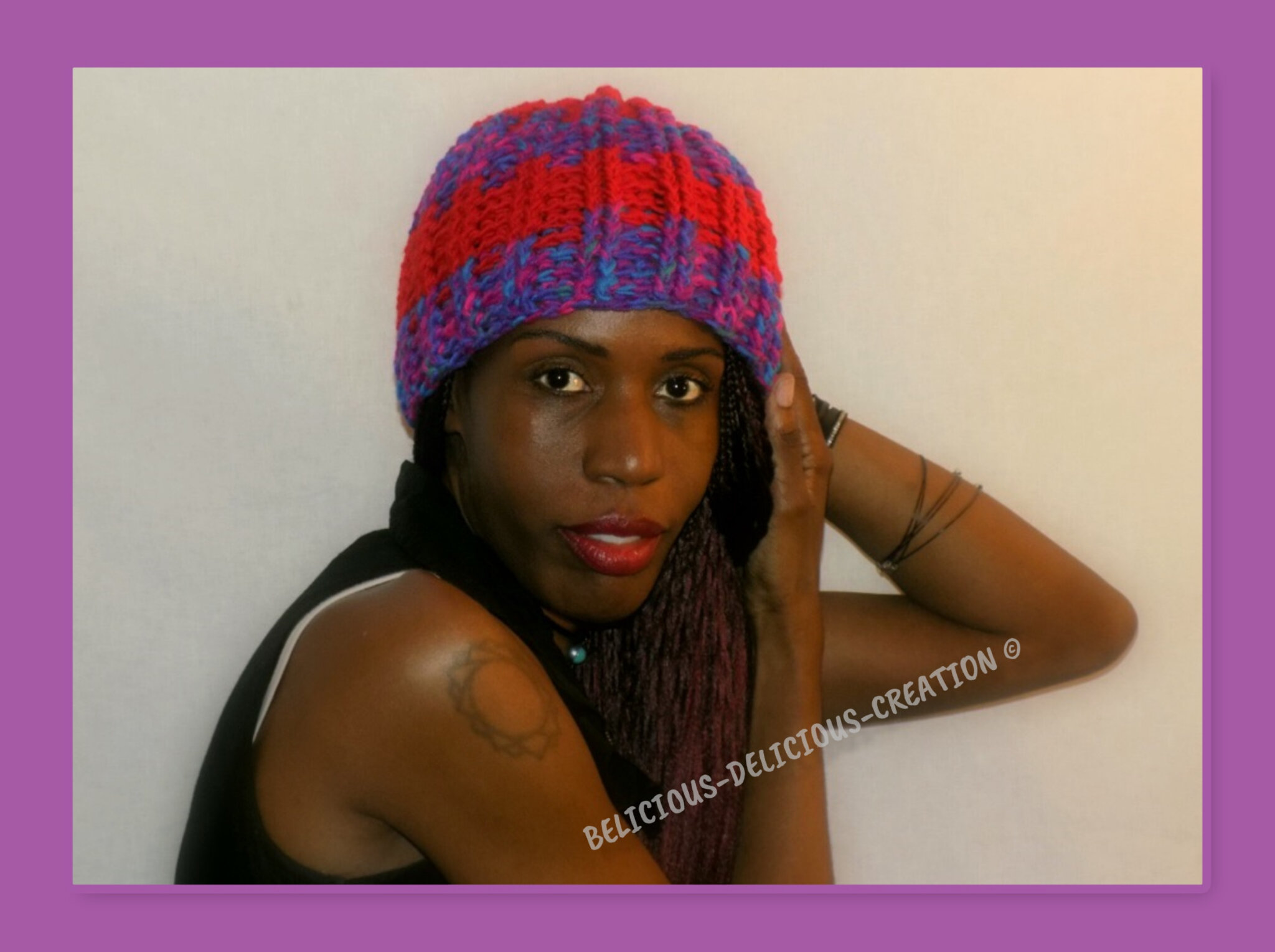 Originale bonnet Crochet unisex !! PURPLE RED!! En laine Taille unique handmade belicious-delicious-creation