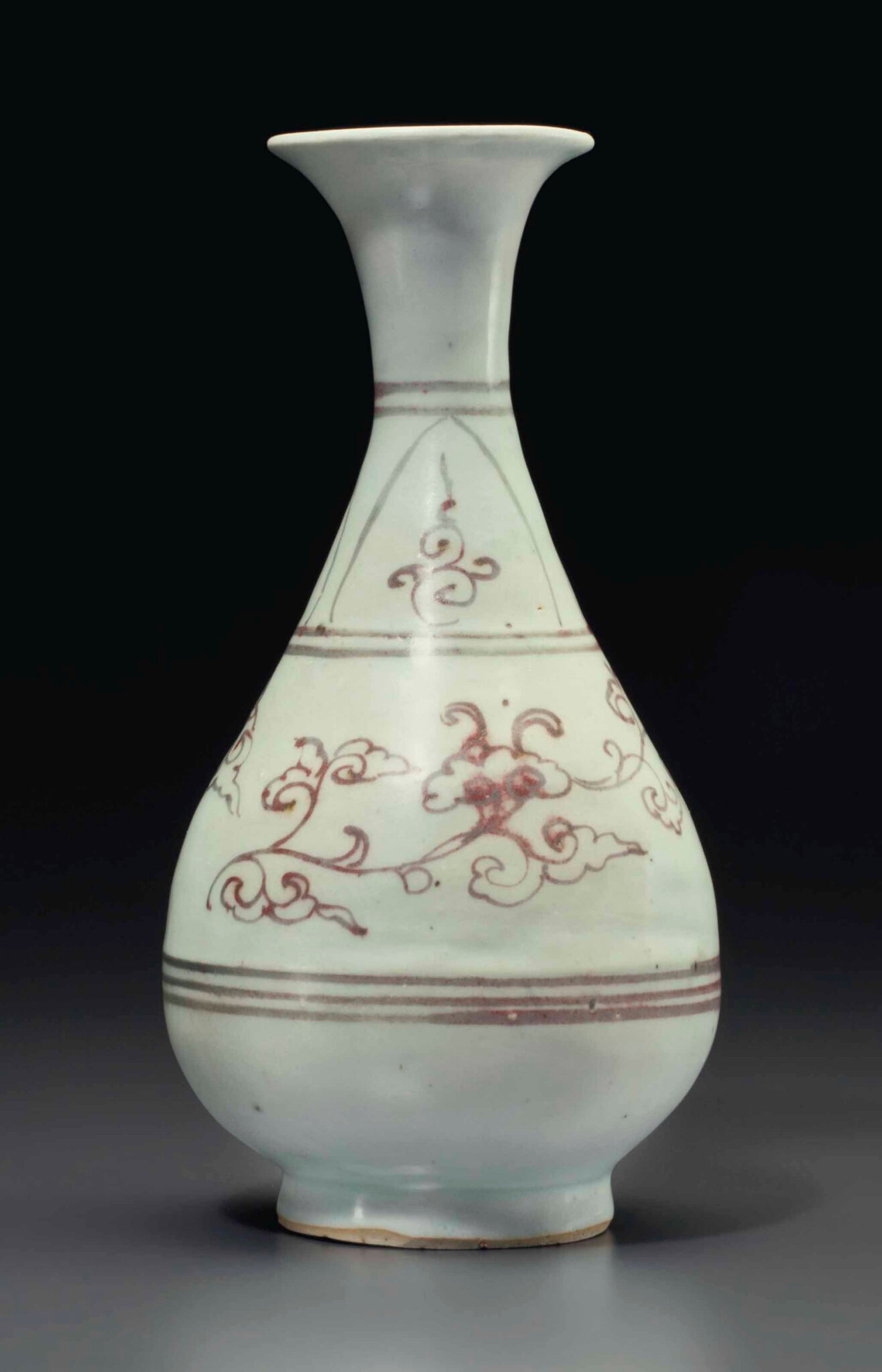 A copper-red-decorated yuhuchunping, Yuan dynasty (1279-1368)