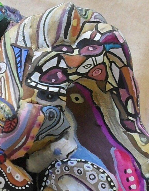 Hervé THAREL - SCHMIMBLOCK'S chevo 2011 - 30 cmx 23 cm x 18,5 cm gouache T7 sur argile (détail2)