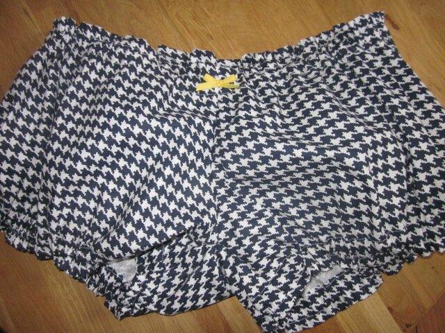 Culotte BIANCA en coton imprimé pied de poule marine - noeud jaune (2)