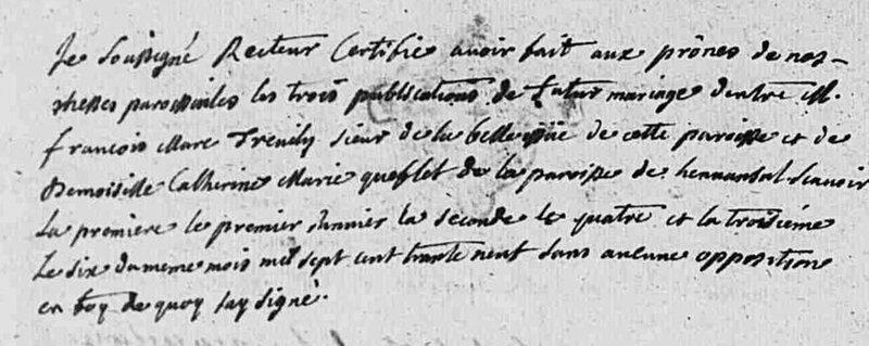 Henansal 3 janvier 1739 Bannies du mariage de Catherine