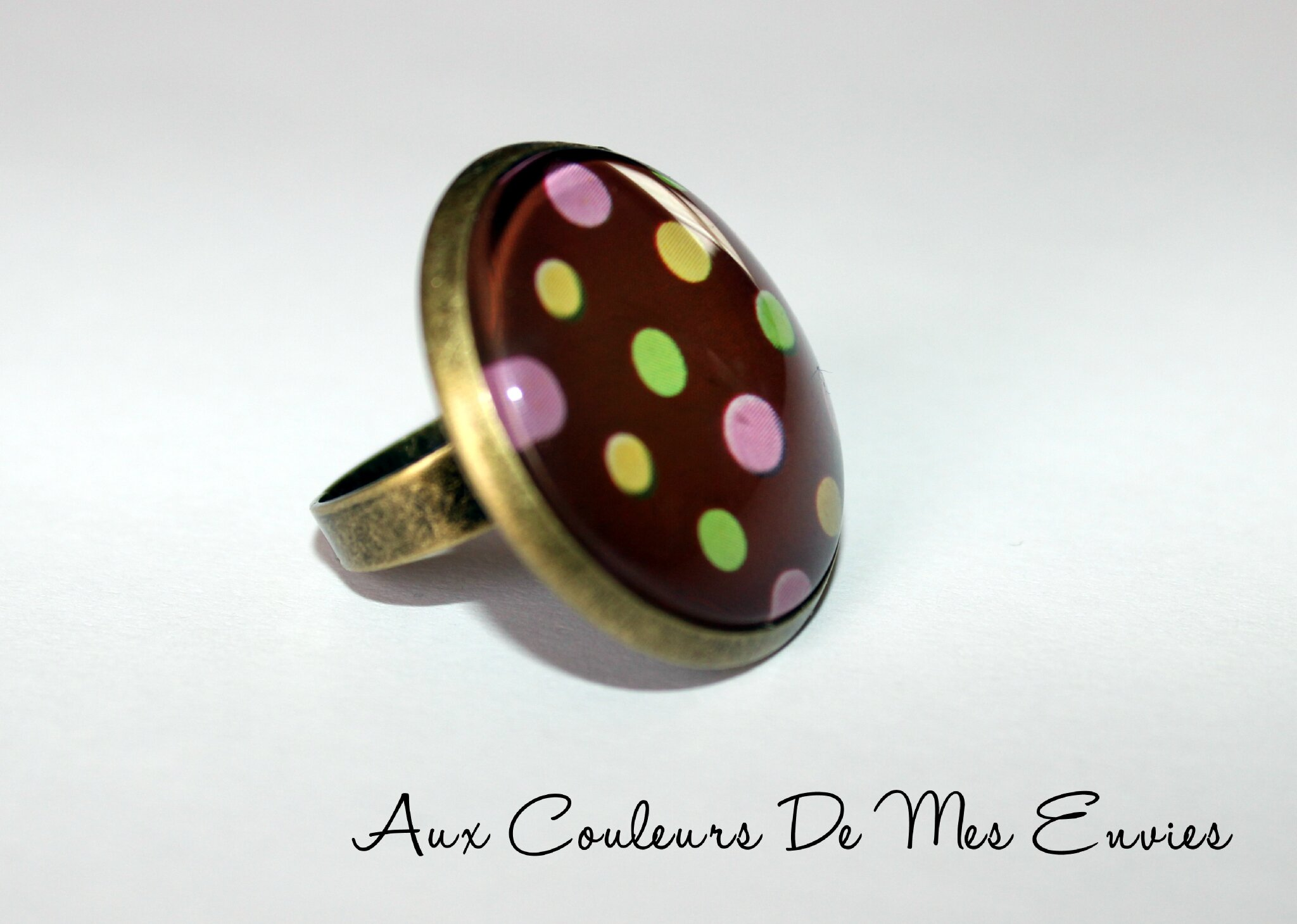 Bague pois multicolores