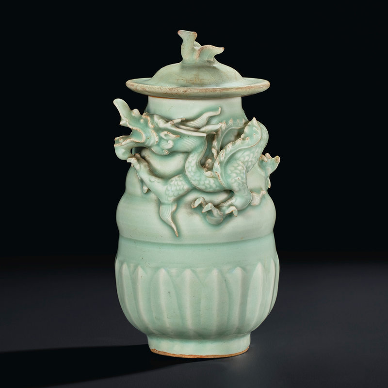 A Longquan celadon dragon jar and cover, Southern Song dynasty
